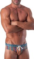 Geronimo Mens Swimwear Striped Low Rise Brief Trunks 1509s2 15092